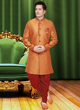 Orange Jute Achkan Sherwani