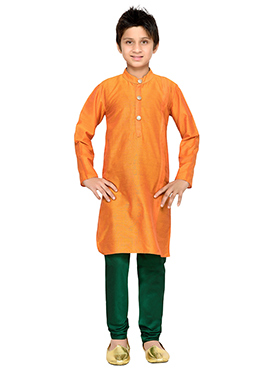 Orange K N U Boys Kurta Pyjama