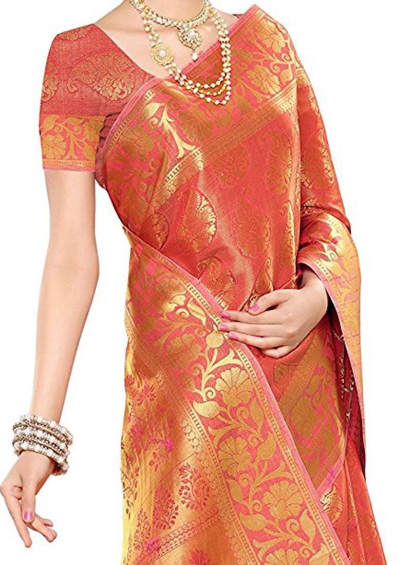 Buy Orange Kancheepuram Art Silk Saree Kancheepuram