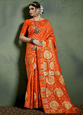 Orange Kancheepuram Art Silk Saree