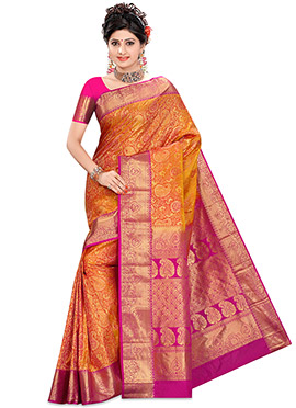 Orange Kancheepuram Pure Silk Saree