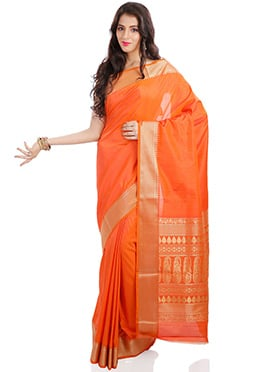 Orange Kancheepuram Art Silk Saree