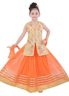 Orange Kids Lehenga Choli