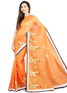 Orange Kota Net Embroidered Saree