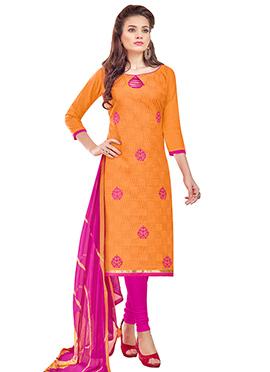 Orange Linen Churidar Suit