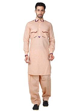 Orange Linen Cotton Pathani Set