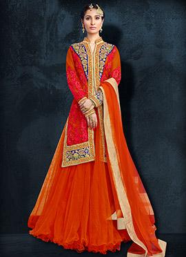Orange Long Choli Umbrella Lehenga