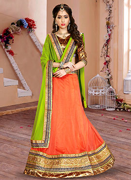 Orange Lycra Lehenga Choli