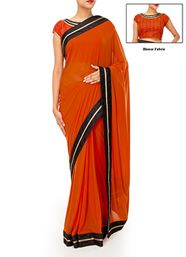 Orange Lycra Net Border Saree