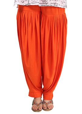 Orange Lycra Patiala Pant