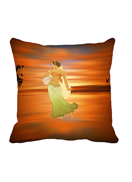 Orange Matka Girl Cushion Cover