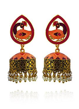 Orange Meenakari Jhumka Earring