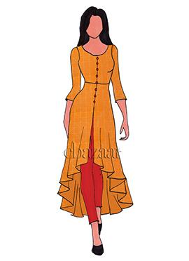 Orange Mogra Silk Asymmetrical Top