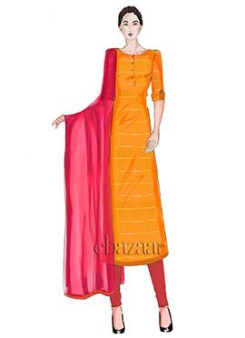 Orange Mogra Silk Churidar Suit