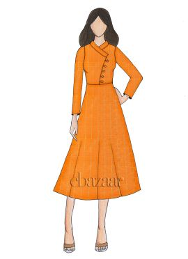 Orange Mogra Silk Full Sleeve Kurti