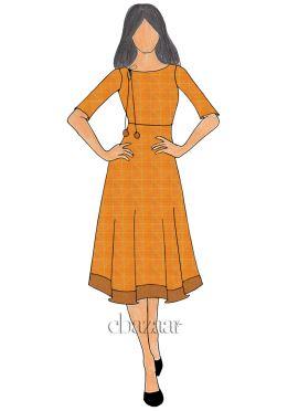 Orange Mogra Silk Knee length Kurti