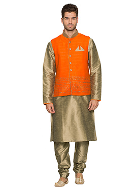 Orange N Beige Art Silk Bandi Set