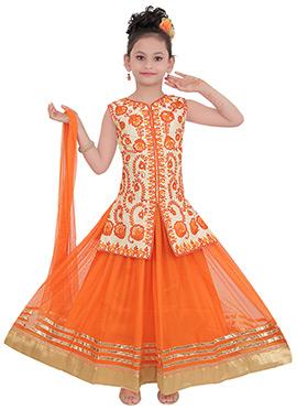 Orange N Beige Art Silk Kids Long Choli Lehenga