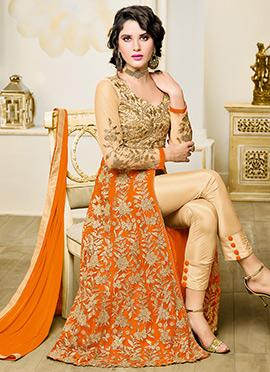 Orange N Beige Art Silk N Net Anarkali Suit