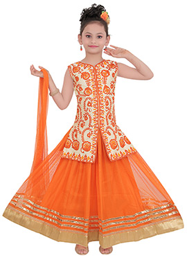 Orange N Beige Art Silk Teens Long Choli Lehenga