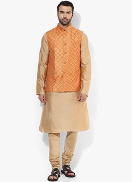 Orange N Beige Benarasi Cotton Silk Bandi Set