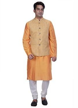Orange N Beige Benarasi Silk Cotton Bandi Set