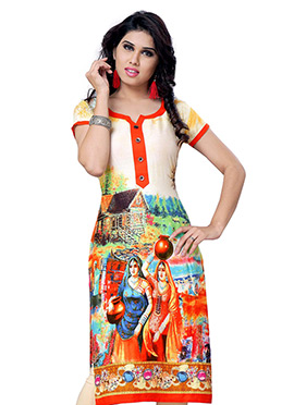Orange N Beige Georgette Short Kurti