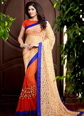 Orange N Beige Printed Half N Half Saree