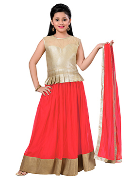 Red N Beige Teens A Line Lehenga Choli