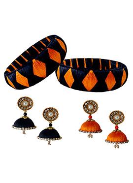 Orange N Black Bangles Combo