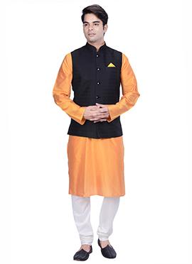Orange N Black Benarasi Silk Cotton Bandi Set