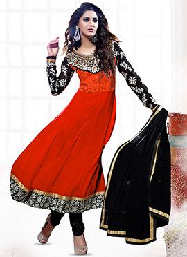 Orange N Black Georgette Anarkali Suit