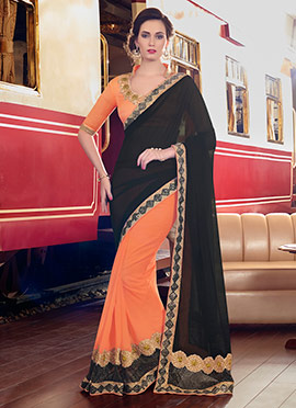 Orange N Black Half N Half Saree