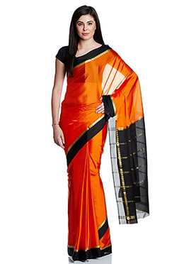 Orange N Black Pure Mysore Silk Saree