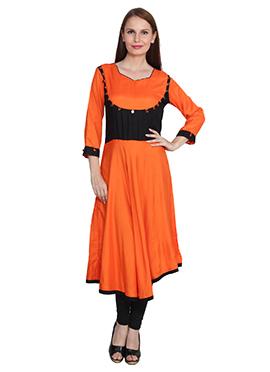Orange N Black Viscose Kurti