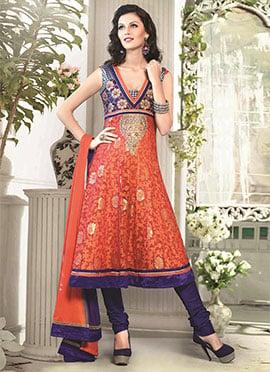 Orange N Blue Art Silk Cotton Anarkali Suit