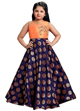 Orange N Blue Art Silk Kids Gown
