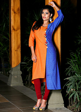 Orange N Blue Cotton Kurti