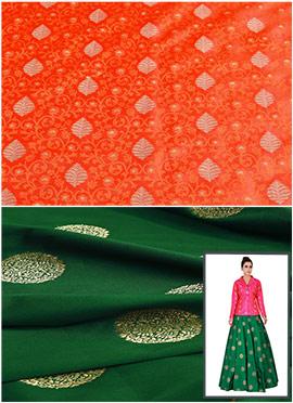Orange N Bottle Green Art Silk Skirt Set