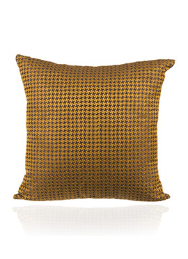 Mustard N Brown Art Silk Cotton Cushion Cover