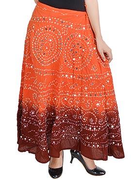 Orange N Brown Cotton Bandhini Printed Skirt