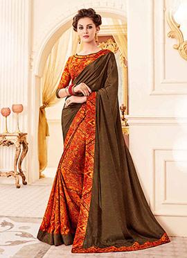 Orange N Brown Crepe Silk Saree