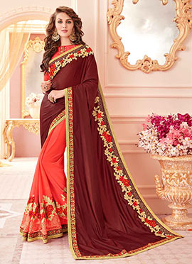 Orange N Brown Half N Half Saree