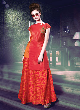 Orange N Coral Red Art Silk Skirt Set