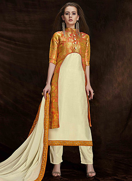 Orange N Cream Art Benarasi Silk Straight Pant Suit