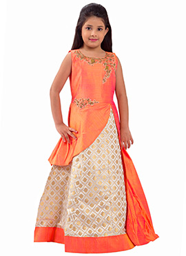 Orange N Cream Art Silk Kids Gown