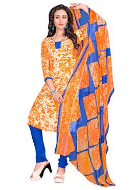 Orange N Cream Crepe Churidar Suit