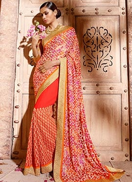 Orange N Cream Georgette N Brasso Half N Half Saree