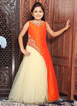 Orange N Cream Net Satin Kids Gown