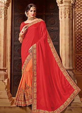 Orange N Dark Pink Art Silk Saree